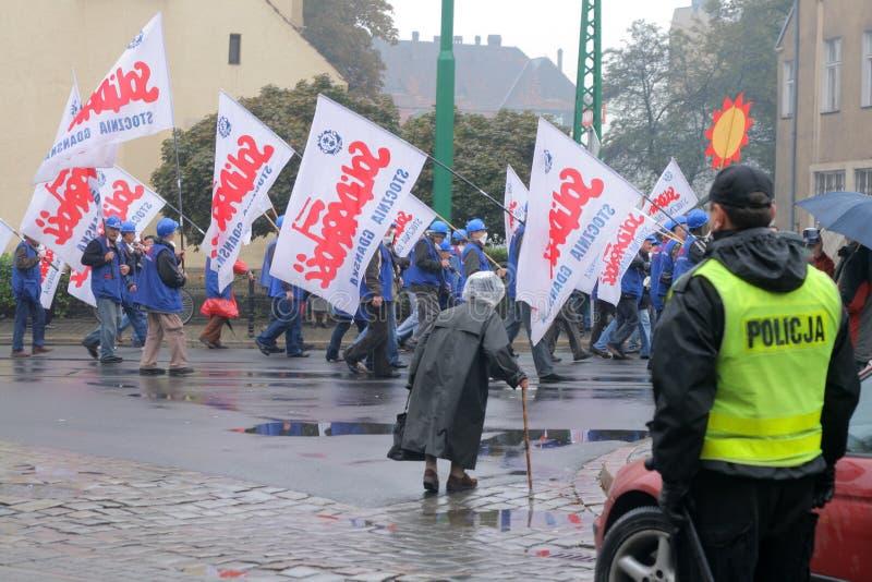 Manifestación de los trabajadores foto de archivo