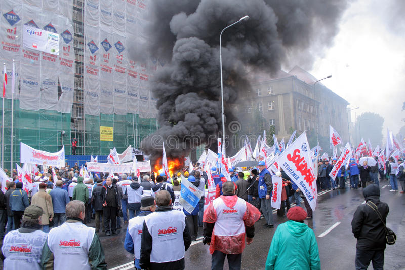 Manifestación de los trabajadores imagen de archivo libre de regalías
