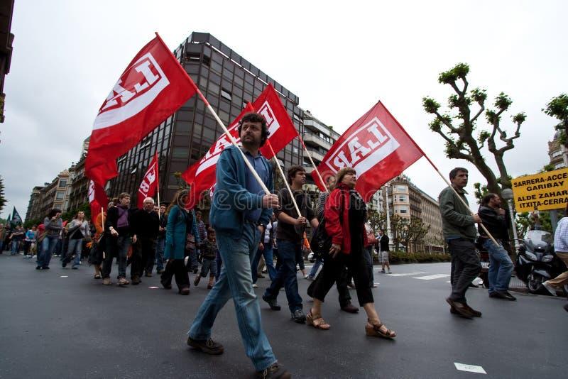 Manifestación del basque de la unión del sindicato imágenes de archivo libres de regalías
