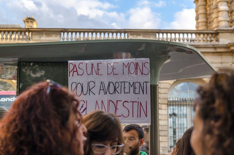 Manifestación delante del senado francés en apoyo del voto en el aborto de la Argentina gratis imagen de archivo
