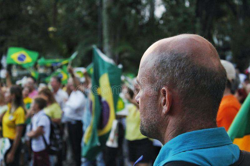 Manifestacja przeciw habeas corpus petyci segregującej adwokatami obronnymi były prezydent Brazylia Luiz Inà ¡ cio Lula da fotografia stock