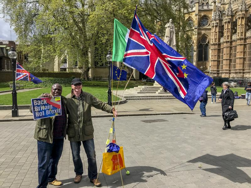 Manifestante anti-Brexit en Londres foto de archivo