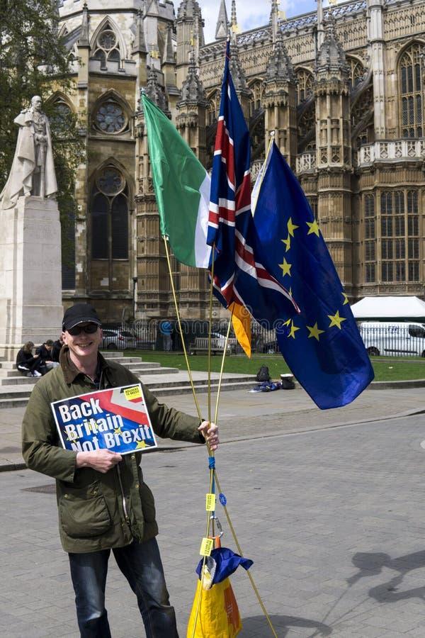 Manifestante anti-Brexit en Londres imagen de archivo