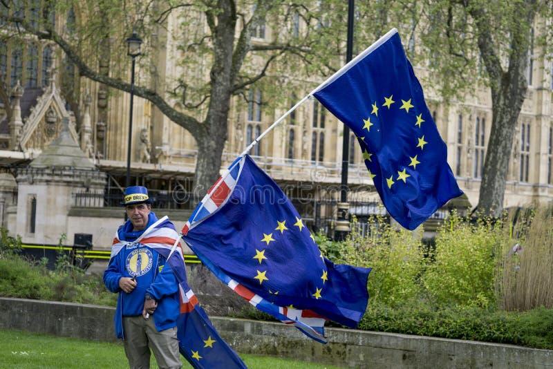 Manifestante anti-Brexit en Londres foto de archivo libre de regalías