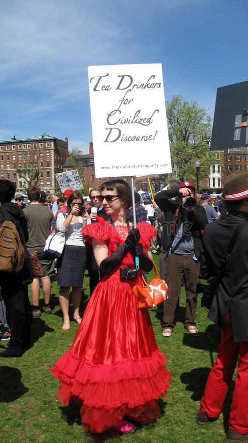 Manifestante de la reunión del partido de té en el campo común de Boston fotos de archivo libres de regalías