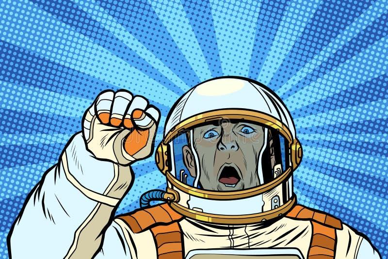 Manifestante enojado del cosmonauta del astronauta, democracia de la libertad de la resistencia de la reunión ilustración del vector