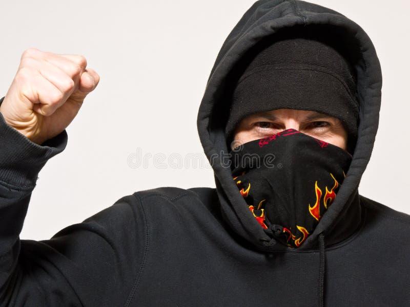 Manifestante o asaltante enojado foto de archivo
