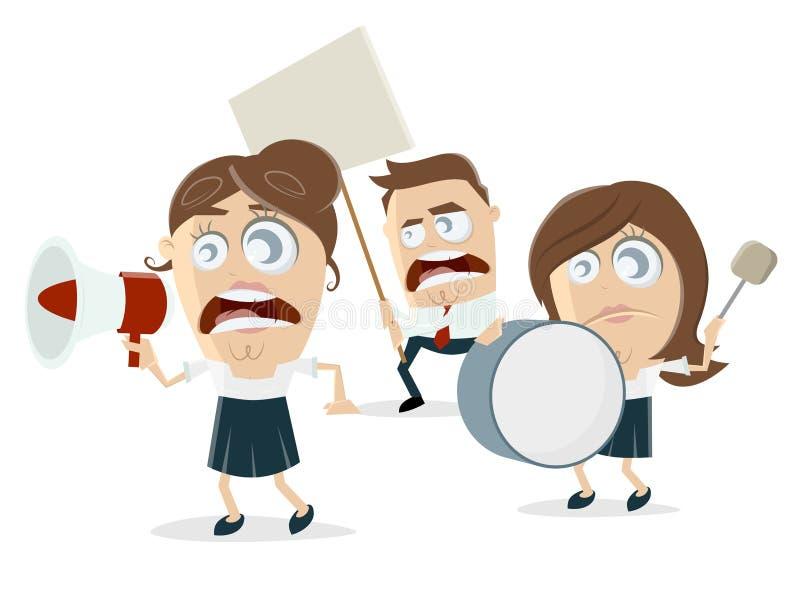 Manifestantes enojados de la historieta ilustración del vector