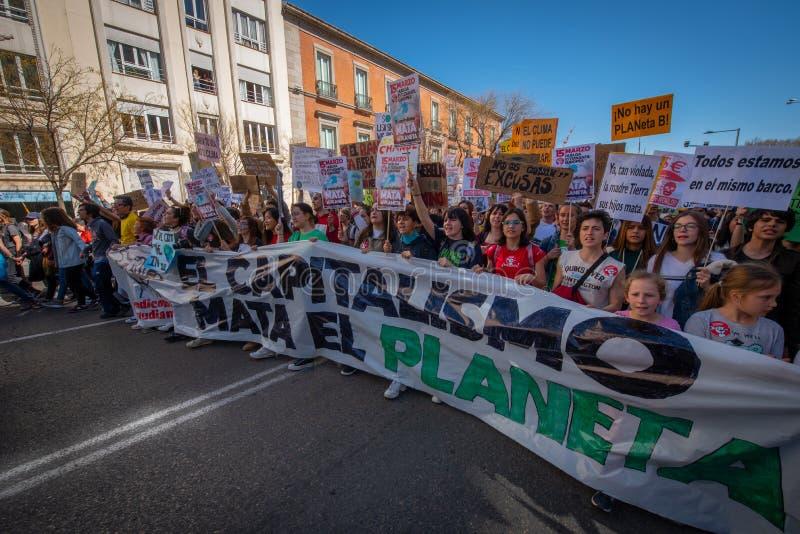Manifestantes marzo en Madrid España fotografía de archivo libre de regalías