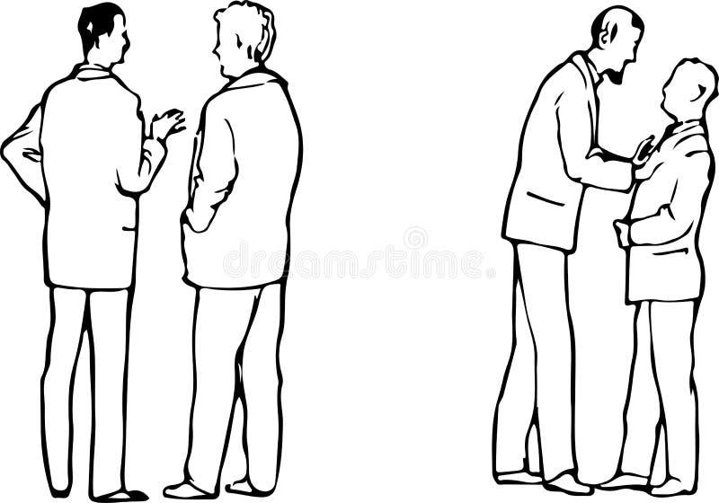 Manifestaties van emoties tussen twee mensen op een commerciële vergadering een vreedzame mededeling van ruzieil royalty-vrije illustratie