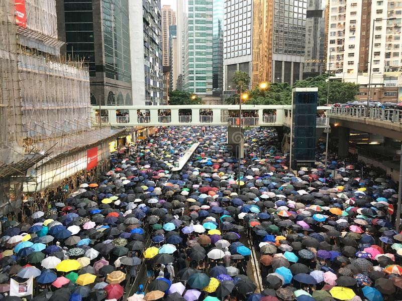 Manifestation / Manifestation 2019 à Hong Kong image libre de droits
