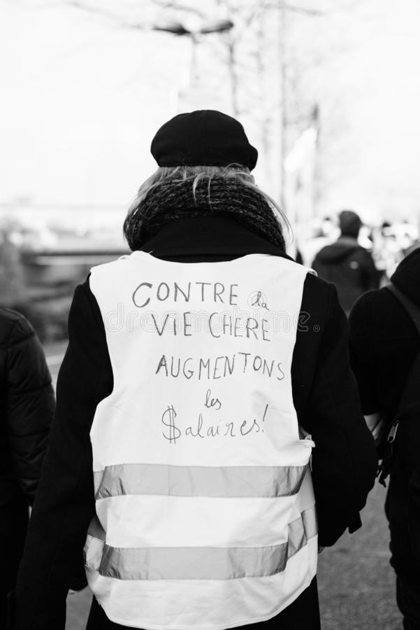 Manifestation European Parliament against the expensive life - increase in wages. STRASBOURG, FRANCE - FEB 02, 2018: People demonstrating during protest of royalty free stock images