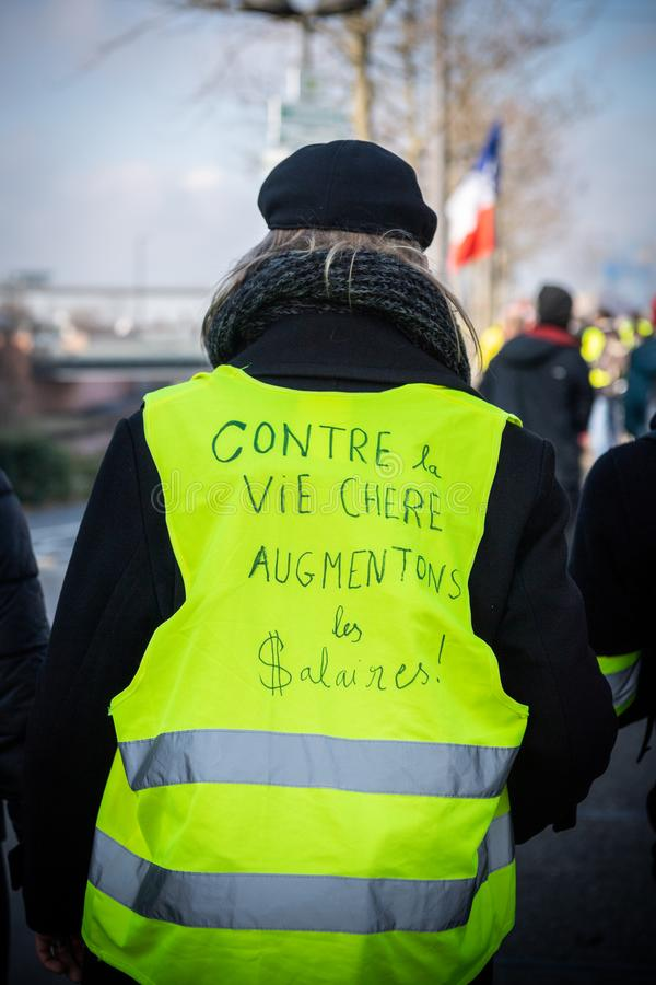 Manifestation European Parliament against the expensive life - increase in wages. STRASBOURG, FRANCE - FEB 02, 2018: People demonstrating during protest of stock image