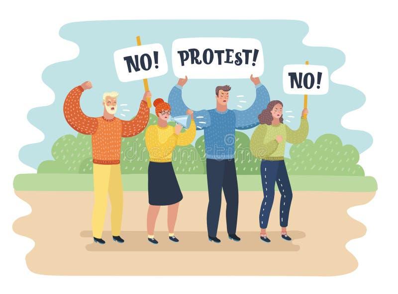 Manifestation - un groupe de personnes protestation illustration libre de droits