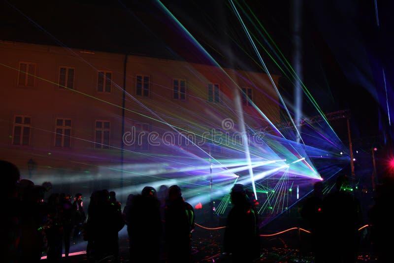 Manifestazione Colourful del laser fotografie stock libere da diritti