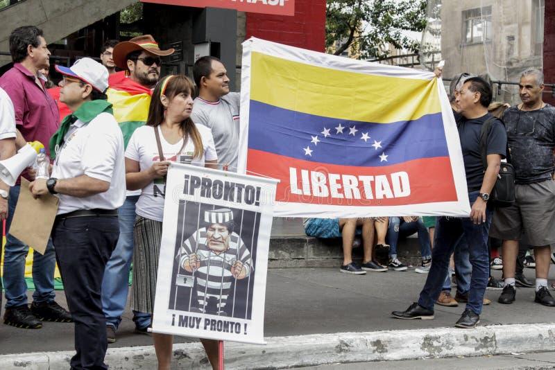 Manifestazione contro il governo corrente della Bolivia fotografie stock libere da diritti