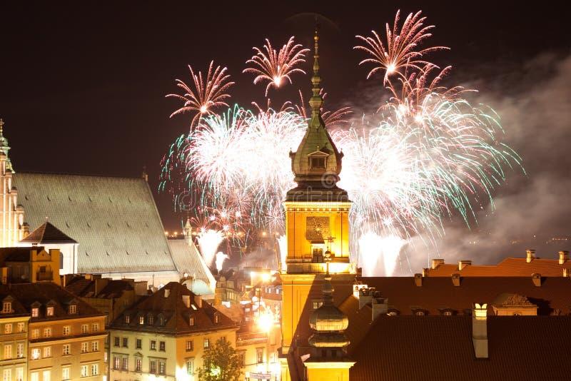 Manifestazione dei fuochi d'artificio sul nuovo anno immagine stock