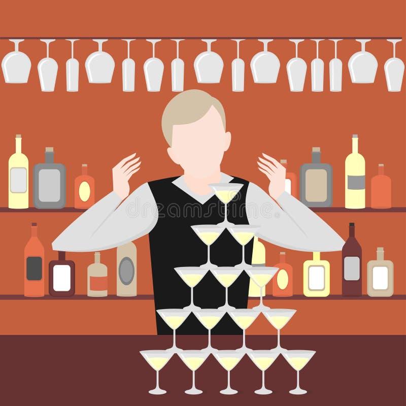 Manifestazione del barista Vita di notte nella barra Insieme alcolico dell'icona delle bottiglie e dei cocktail Piramide di champ illustrazione di stock