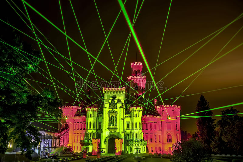 Manifestazione del laser fotografie stock