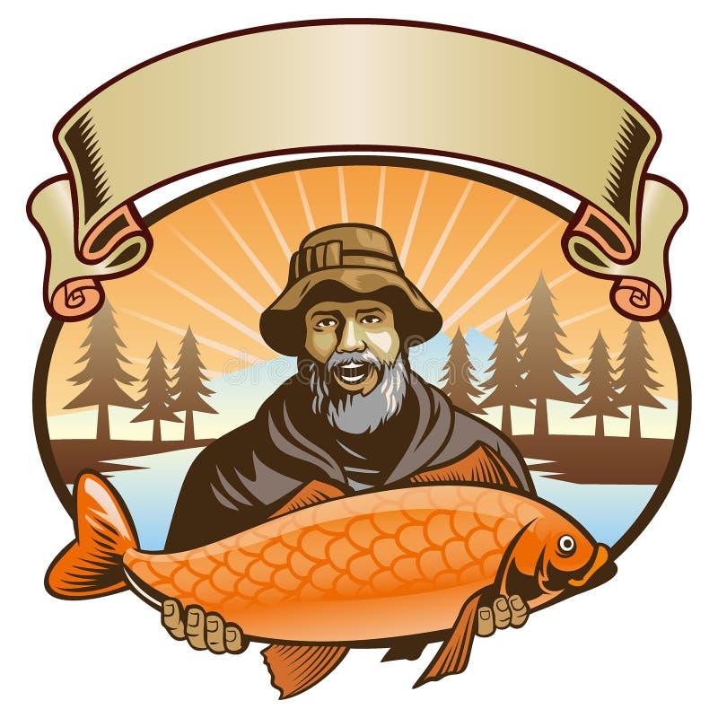 Manifestazione del pescatore il suo pesce royalty illustrazione gratis