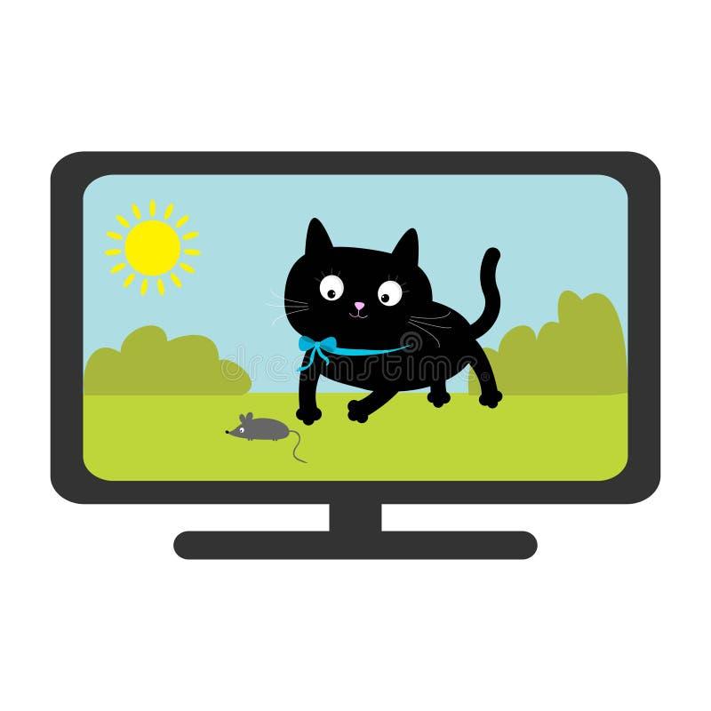 Manifestazione del set televisivo Gatto nero con il topo Animale divertente Personaggio dei cartoni animati sveglio Sun, albero,  illustrazione vettoriale