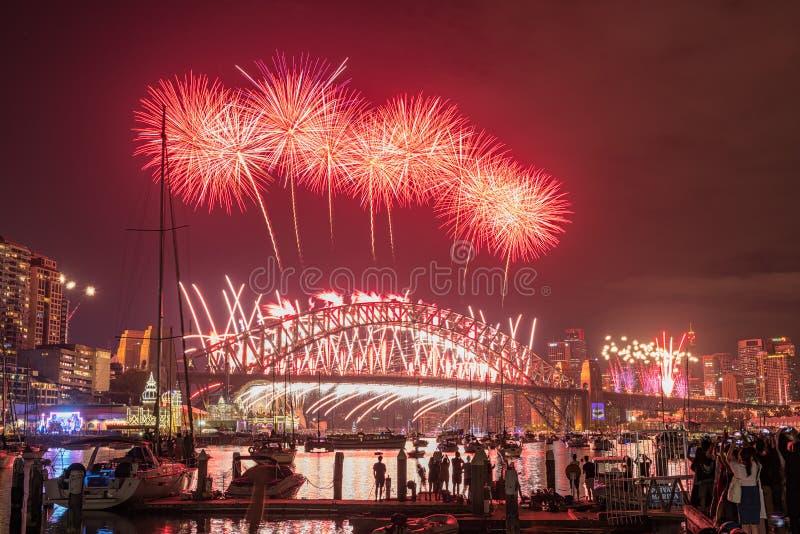 Manifestazione di anno di Eve New dei fuochi d'artificio di Sydney al ponte del porto dal parco Sydney Australia di Clak fotografie stock libere da diritti