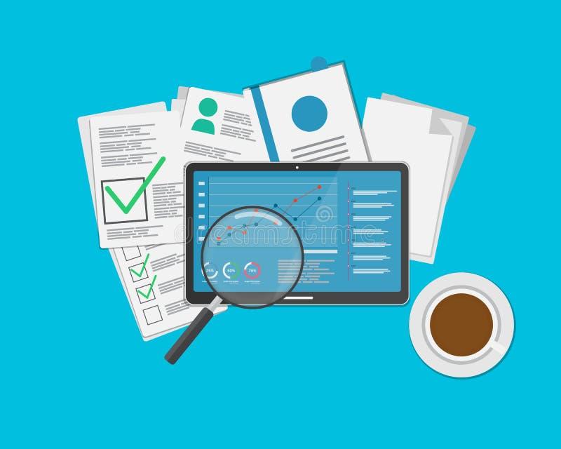 Manifestazione di informazioni di informazioni e del grafico del documento sopra illustrazione di stock