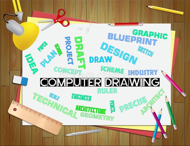 Manifestazioni del disegno del computer che schizzano progettazione e progettista royalty illustrazione gratis
