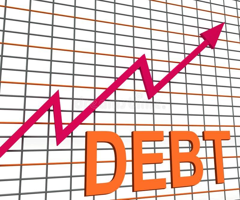 Manifestazioni del grafico del grafico di debito che aumentano indebitato finanziario illustrazione vettoriale