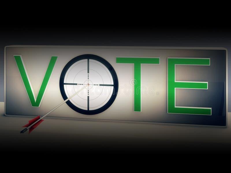 Manifestazioni dell'obiettivo di voto che scelgono di eleggere opzione illustrazione di stock