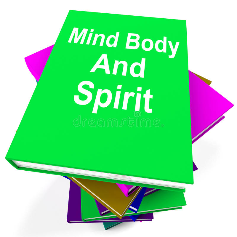 Manifestazioni della pila di libro di spirito e della mente corpo olistiche illustrazione di stock