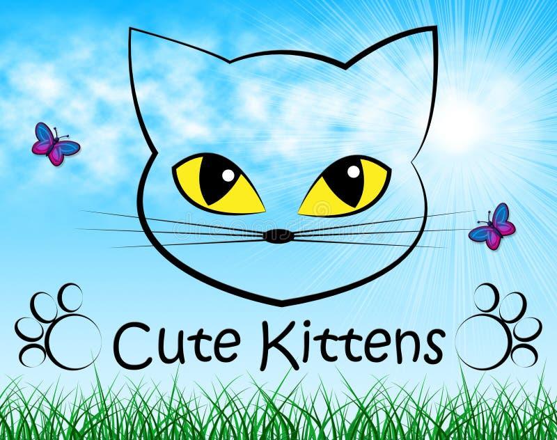 Manifestazioni sveglie Cat And Beautiful domestica dei gattini illustrazione vettoriale