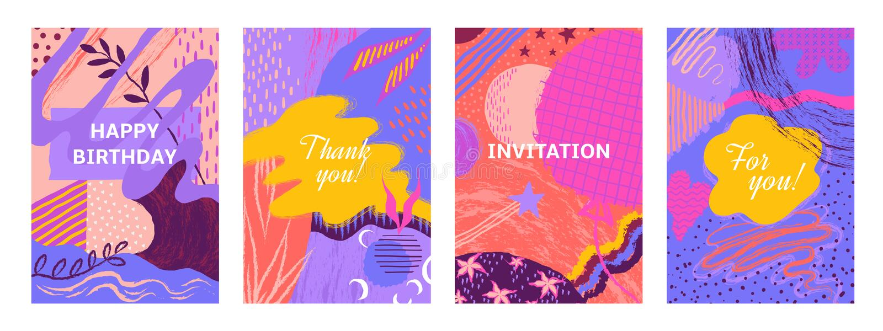 Manifesti astratti della spazzola Spazzoli le insegne disegnate a mano della pittura con i modelli e gli elementi floreali, carte illustrazione vettoriale