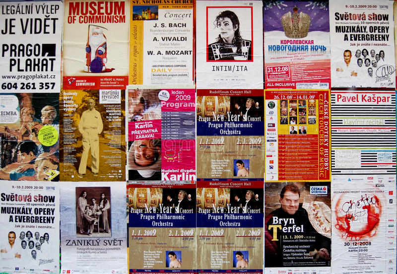 Manifesti dei concerti di musica a Praga immagini stock libere da diritti