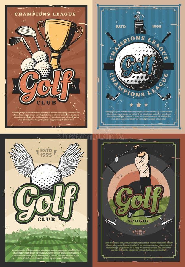Manifesti dei giocatori di club della scuola di golf della lega dei campioni royalty illustrazione gratis