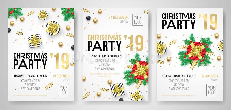 Manifesti dei regali dell'invito di vettore della festa di Natale royalty illustrazione gratis