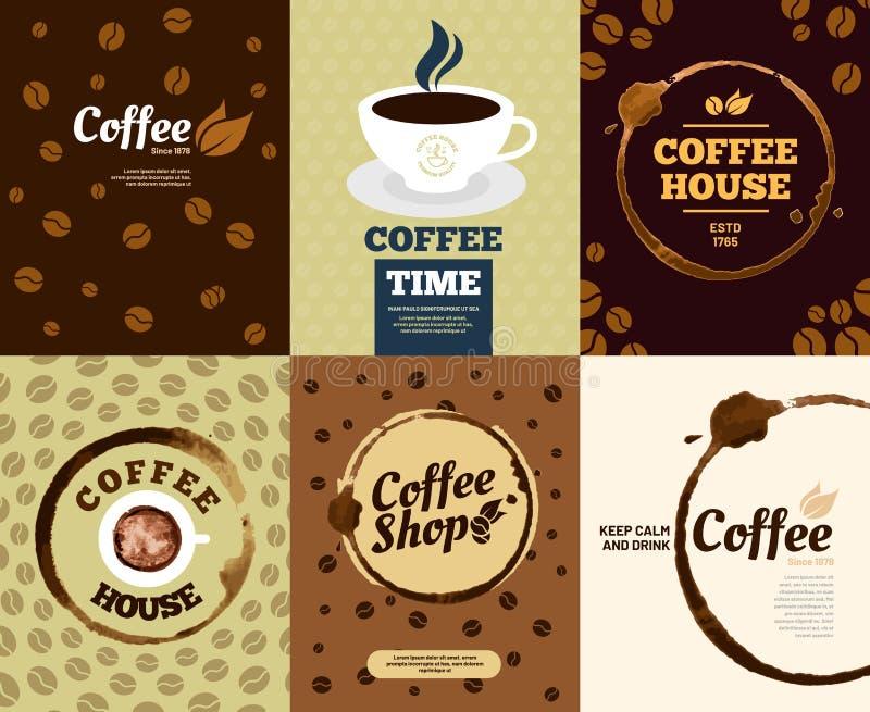Manifesti del caffè Manifesto della macchia del caffè o carta macchiata caffè della spruzzata di caduta Retro insieme dell'illust illustrazione di stock