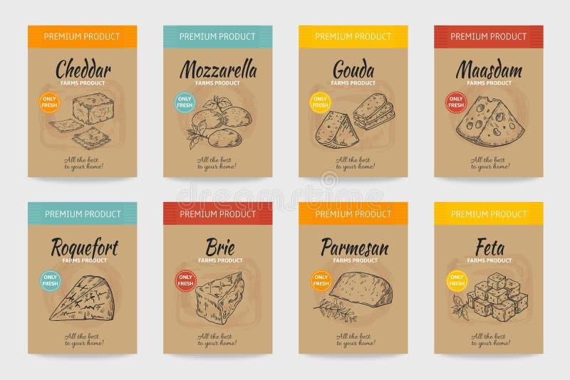 Manifesti del formaggio Schizzo d'annata dell'alimento gastronomico, progettazione organica del menu, formaggio e pacchetto del p illustrazione di stock