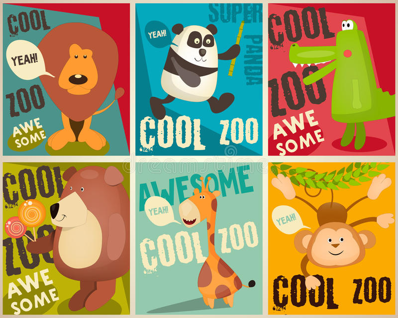 Manifesti del parco dello zoo illustrazione di stock