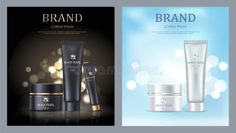 Manifesti di marca commerciale con la crema nera bianca della perla illustrazione di stock