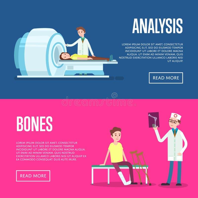 Manifesti di sanità e di trattamento medico illustrazione di stock