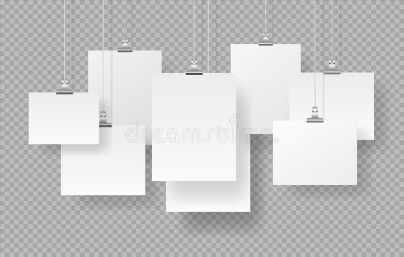 Manifesti Immagini in bianco e realistico intonaco, cartelli vuoti bianchi isolati su sfondo trasparente Vettore fotografie stock
