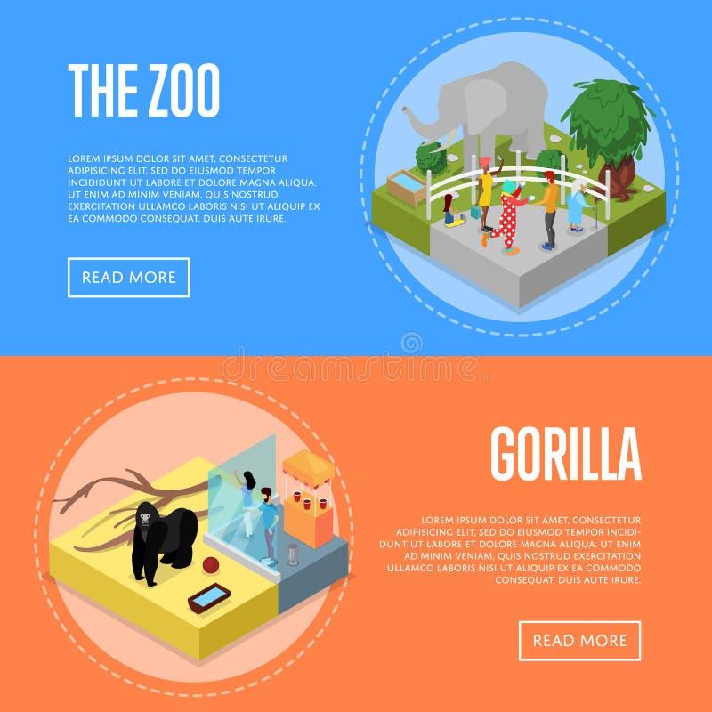 Manifesti isometrici 3D dello zoo pubblico messi royalty illustrazione gratis
