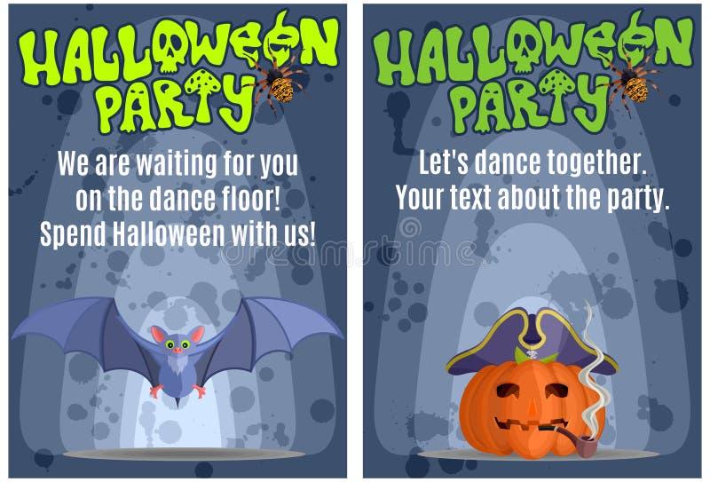 Manifesti luminosi per il partito di travestimento di Halloween illustrazione vettoriale