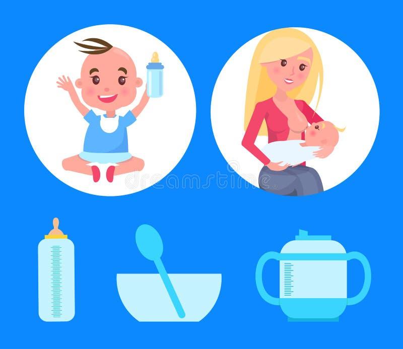Manifesti messi con la bottiglia di seduta del neonato di latte illustrazione di stock