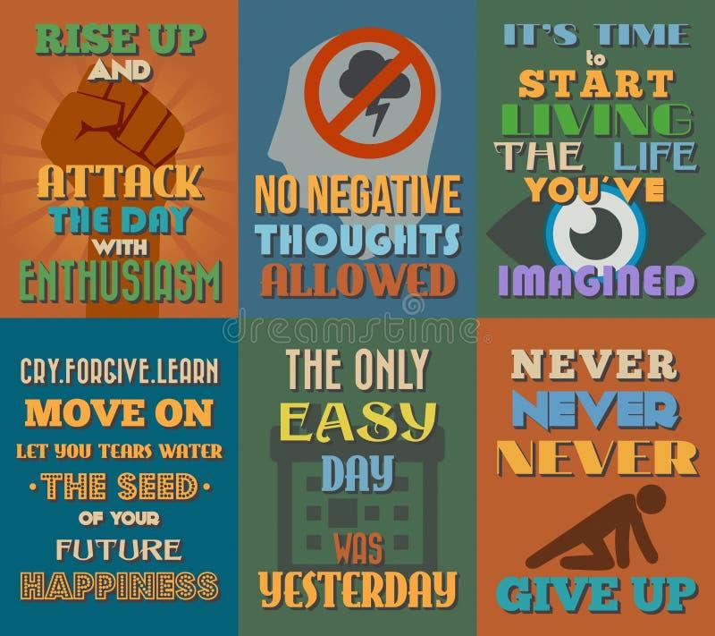Manifesti motivazionali e ispiratori insoliti di citazioni Insieme 2 illustrazione di stock