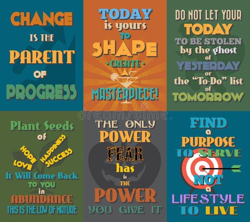 Manifesti motivazionali e ispiratori insoliti di citazioni Insieme 4 illustrazione di stock