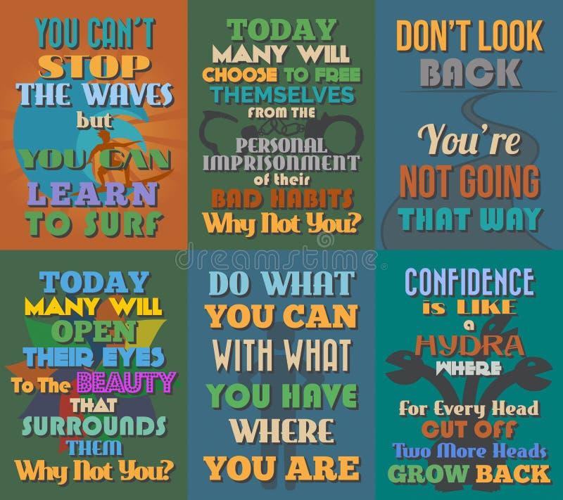 Manifesti motivazionali e ispiratori insoliti di citazioni Insieme 11 illustrazione di stock