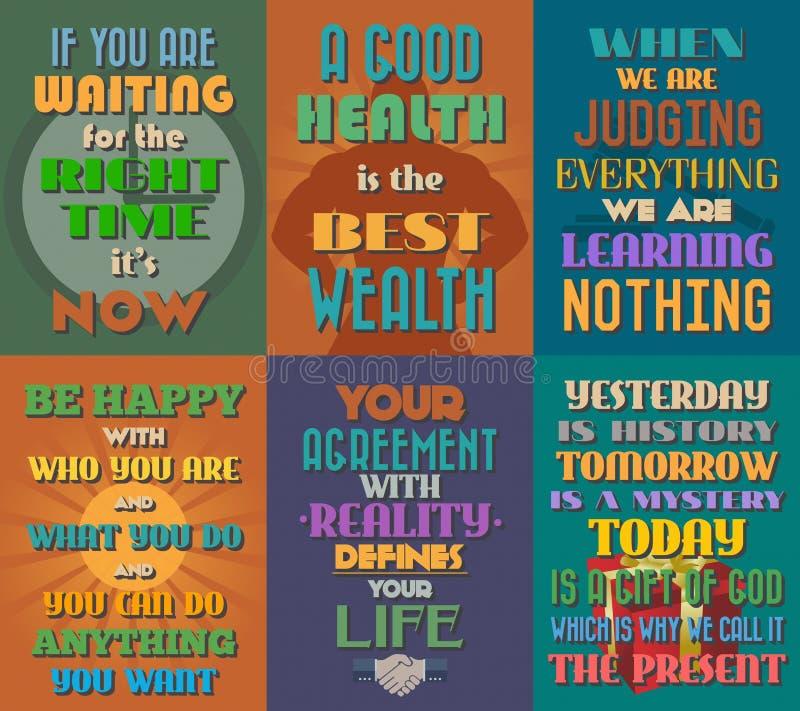 Manifesti motivazionali e ispiratori insoliti di citazioni Insieme 9 illustrazione di stock