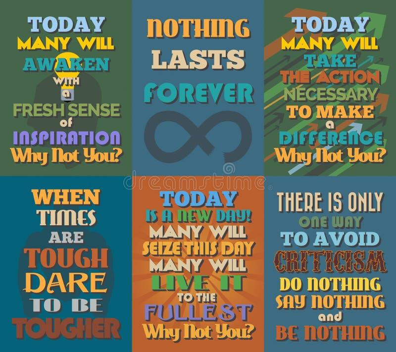 Manifesti motivazionali e ispiratori insoliti di citazioni Insieme 5 illustrazione di stock